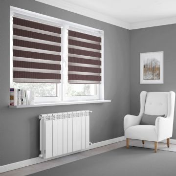 Dark Purple Day and Night Made to measure Roller Blinds in Copper Brown